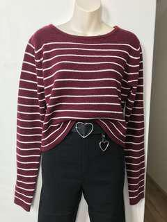 Burgundy Striped Sweater S/M or M/L