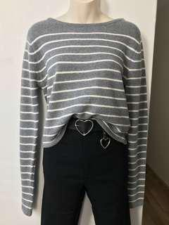 Grey Striped Sweater S/M or M/L