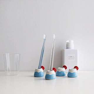 🚚 富士山陶瓷牙刷架牙刷底座筆架