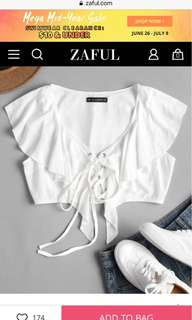 ZAFUL White Ruffle Blous