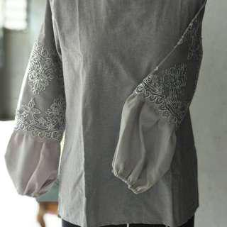 Grey lace blouse simply store