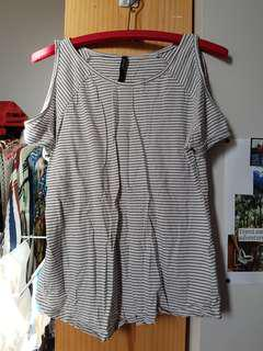 stripe tee with cutout shoulders