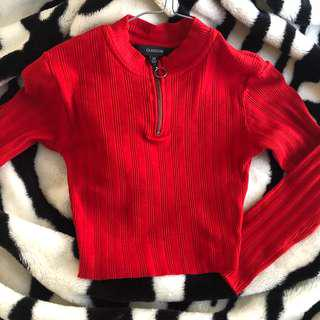 Red cropped long sleeve