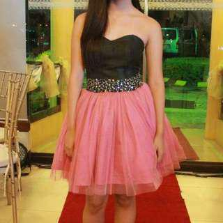 Pink Black Corset Tube Gown Short Dress for RENT