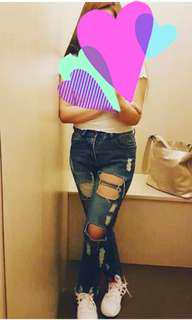 Zalora High waist Ripped Boyfriend Jeans