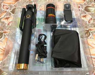 🚚 藍芽自拍桿 + 4合1手機鏡頭組 相機鏡頭組