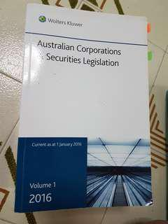 Australian Corporations & Securities Legislation Volume 1 - 2016 - Wolters Kluwer