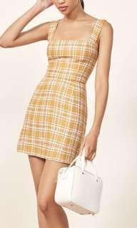 Reformation Yellow checked Brigitte mini dress