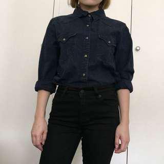 Mango Navy Speckled Button Up Shirt