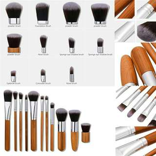 BAMBOO MAKEUP BRUSH SET ISI 11pcs with POUCH