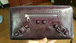 紫色皮革長皮夾(高質感CP值)9成新
