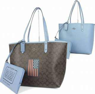 COACH SIGNATURE  RIVERSIBLE CITY TOTE WITH AMERICAN FLAG (F25949)