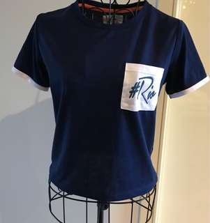Navy Blue cropped t-shirt (size S)