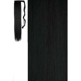 """Thick Wrap Clip in Ponytail Hair Extensions Natural BLACK Extra Long 18-26"""""""