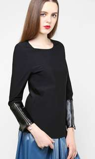 Aere Rosea faux leather sleeves top