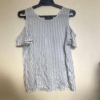 Stripy Cold shoulder blouse