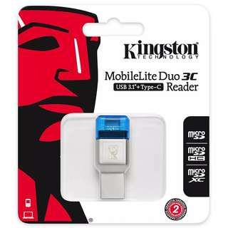 Sold out ** Kingston Digital FCR-ML3C MobileLite Duo 3C, USB 3.1 + Type C, Microsd Card Reader, microSDHC/microSDXC
