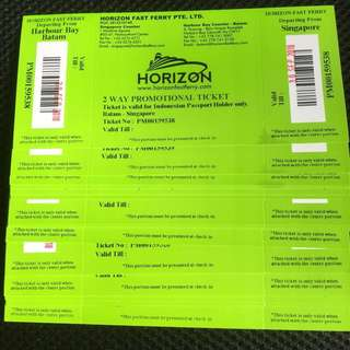 SALE HORIZON FAST FERRY $36 Two Way Include Tax. For INDONESIAN PASSPORT ONLY. OPEN TICKETS.