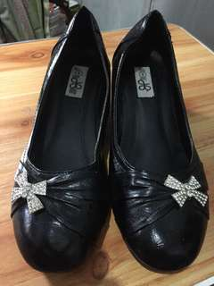 Black Leather Heels Shoes