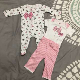 Baby Coveralls / Onesies with pants & bib set