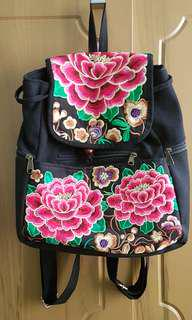 Thai floral embroidered backpack or rucksack