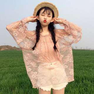 兩件式 甜美 蕾絲花紋防曬 透視上衣 出清 實拍