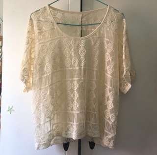 Milky white Lace Top 米白蕾絲上衣