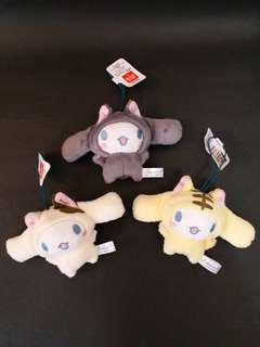 (全新) 一套三隻 玉桂狗 扮貓貓 吊飾 (Brand New) Cinnamoroll turns into cat accessory set