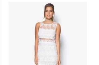 White see through lace party dress 白色通花背心裙