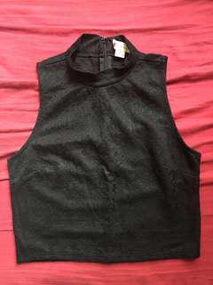 Lace black cropped vest 黑色喱士蕾絲高領背心