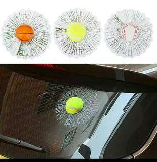 3D Simulated Sticker on Cars Auto Body Window Glass Tennis Ball/Basketball/Baseball Decal Trinket Automotive Decor Accessories