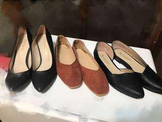 🚚 百搭 黑色 平底 高跟 小方鞋