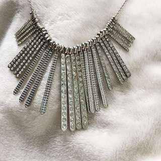 GUESS Silver Rhinestone Statement Necklace