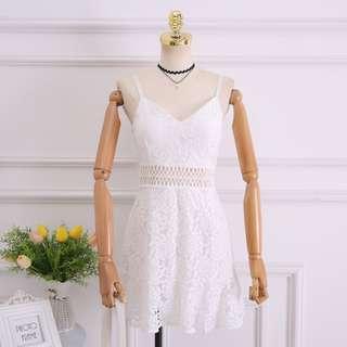 🚚 Crotchet/Lace White Skater Dress (BN)
