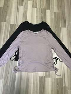 Mauve & Black Lace Up Pullover