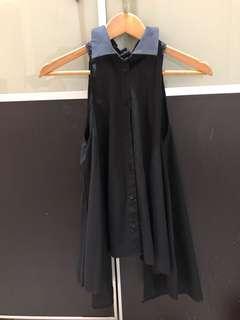 Pre loved black cameo shirt string top XS
