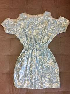 Dress with cut-out shoulder. stretchable waist. Sz M but fits S-M. Never worn before  #50under