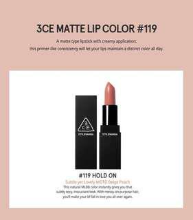 READY STOCKS | Stylenanda 3CE Original Matte Lip Color #119 Hold On