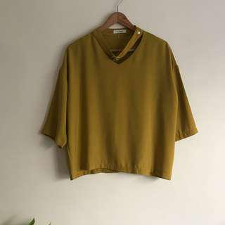 Mustard Yellow Choker Korean Loose Blouse