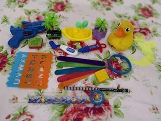 Toys kids colors shapes alphabets stationery stamps
