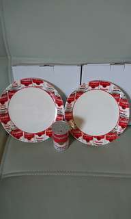 $70 for 3,全新 Campbell's soup 金寶湯碟2隻連盒及牙籤筒1個,碟直徑約20cm,牙籤筒高約8cm