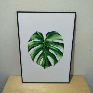A3 Frame Poster  Monstera Leaf ( Nordic/Scandinavian )