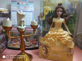 正版Disney Beaty and the beast 蠟燭燈 Belle 公仔 set