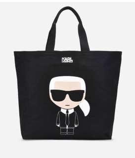 【KARL LAGERFELD 卡爾】Q版帆布購物袋-黑(托特包/購物袋)
