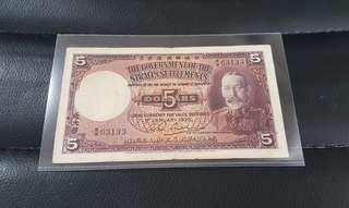 Singapore Straits Settlements 1935 Bank Note $5 Very Fine