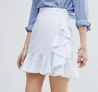 Moon River Striped Frill Skirt