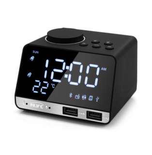 Inlike K11 Bluetooth Alarm Clock and Speaker - Black