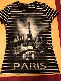 🚚 9成新以上少穿巴黎圖案上衣3號