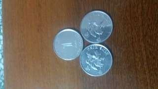 香港1993 錯體一元硬幣 磁石 幣