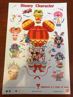 Disney Character 日本貼紙郵票。¥80x10